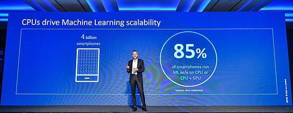 新聞照片1_ Arm IP產品事業群總裁Rene Haas提到約有85%的智慧手機上的機器學習,是在CPU上運行或是在CPU + GPU上運行