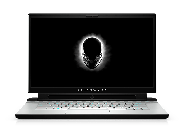 Alienware m15_front view open_Tobii_white