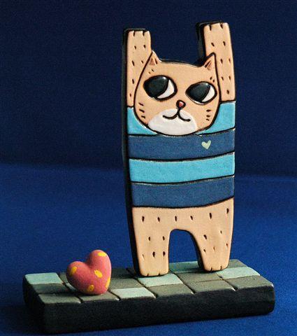 手工陶名片座‧投降貓。880元