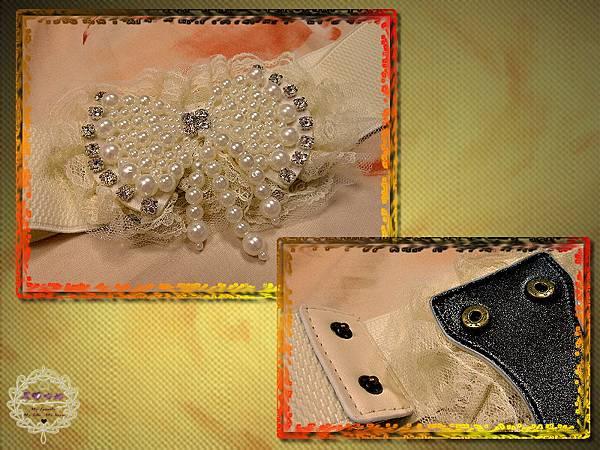 01珍珠水鑽鑲嵌流蘇蕾絲蝴蝶結腰帶