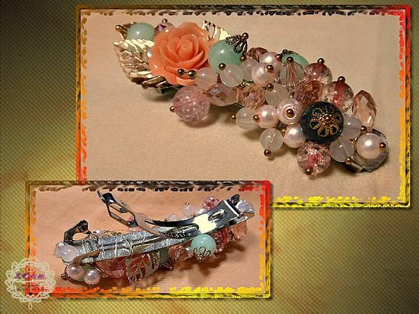03唯美薔薇粉色水晶珍珠葉片彈簧髮夾