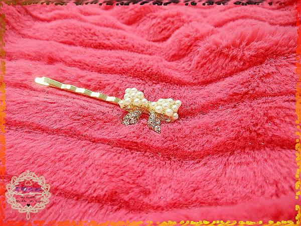 07贈品-珍珠水鑽鑲嵌蝴蝶結髮夾