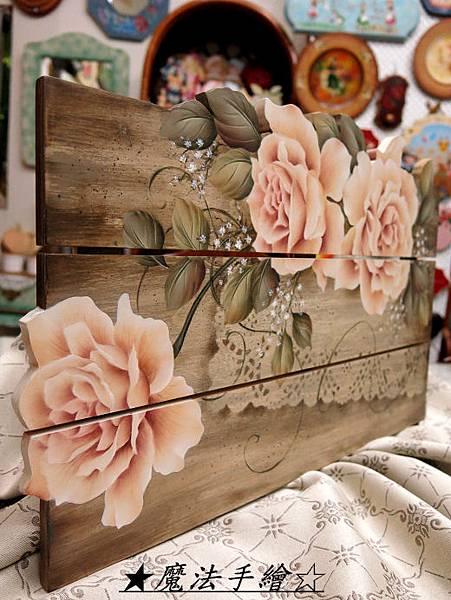 彩繪教學。玫瑰彩繪飾板