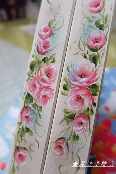 層板支架-玫瑰彩繪