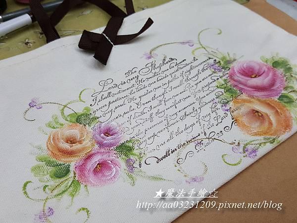 玫瑰彩繪應用-布胚布包