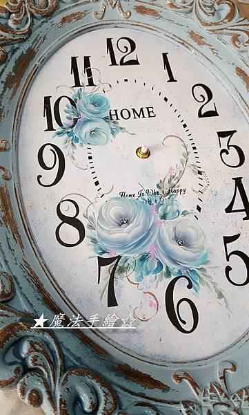 日式復古鐘-彩繪玫瑰