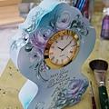 桌上立鐘-玫瑰彩繪