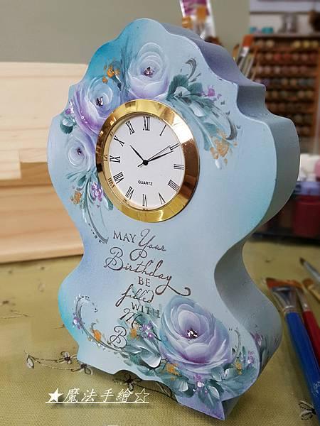 彩繪玫瑰-桌型立鐘