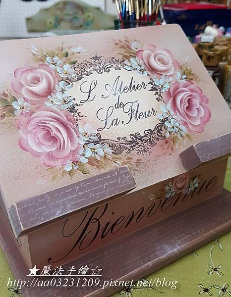 斜面平板置物(食譜)架-彩繪玫瑰