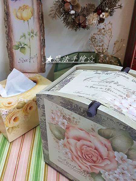 彩繪玫瑰-原木置木盒-絹印效果
