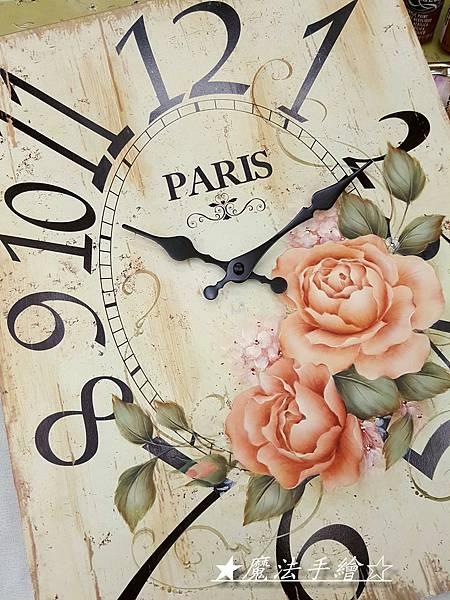 雜貨時鐘-手繪玫瑰