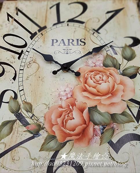 玫瑰彩繪時鐘