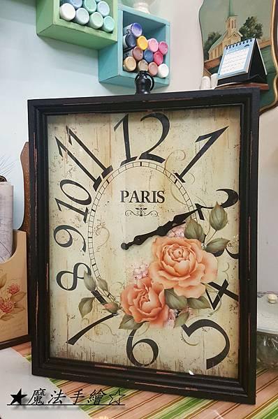 雜貨款時鐘-玫瑰彩繪