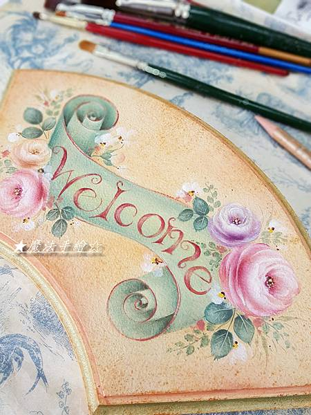 WELCOME彩繪飾板