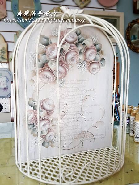 白色仿舊彩繪應用-彩繪玫瑰