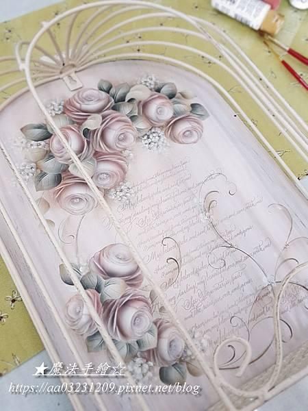玫瑰彩繪-白色鳥籠裝飾彩繪