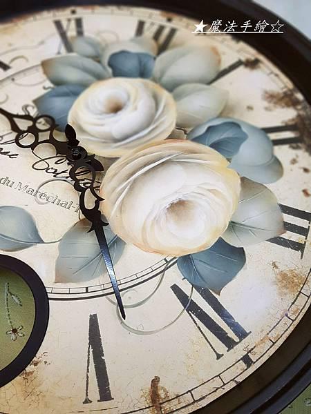 彩繪玫瑰大圓鐘-魔法手繪