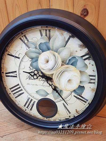 玫瑰彩繪大圓鐘-雜貨彩繪-彩繪教學