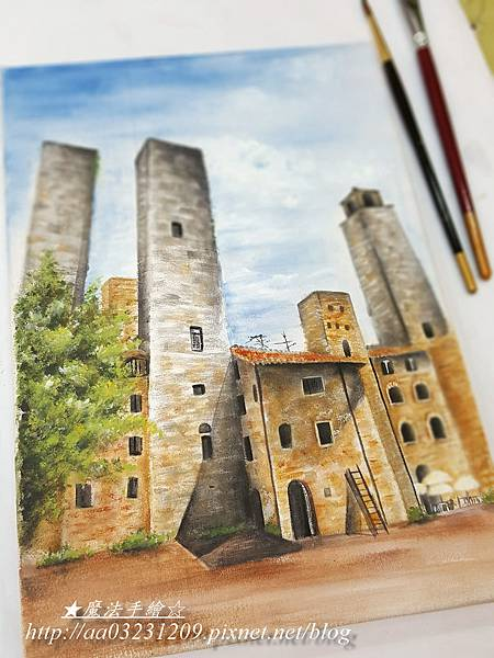 壓克力彩 彩繪/義大利小鎮寫景