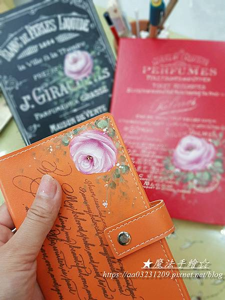 皮飾彩繪應用-玫瑰 絹印 手繪-魔法手繪