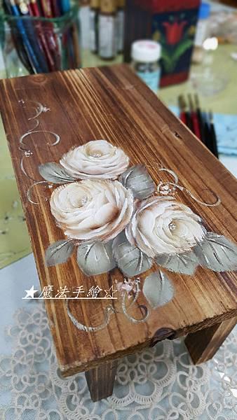 小椅凳彩繪-玫瑰彩繪教學