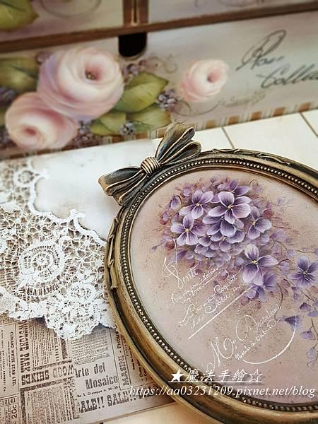 紫羅蘭彩繪-相框彩繪-魔法手繪