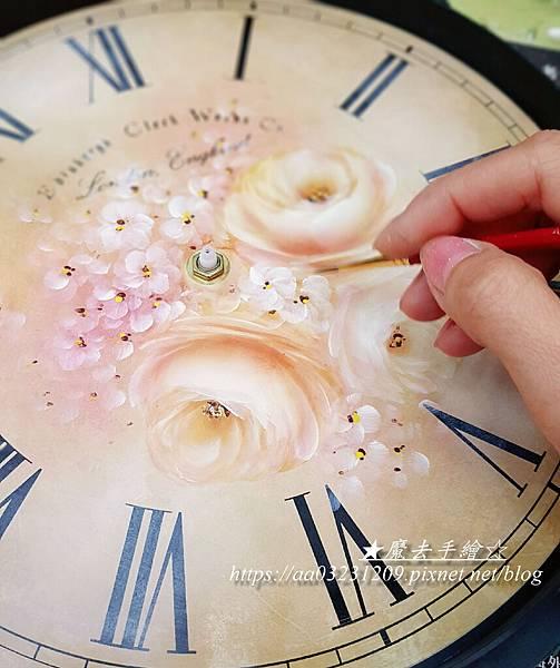 玫瑰彩繪圓鐘款-魔法手繪