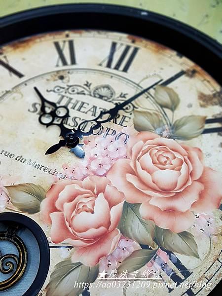 緞鐵大圓鐘-玫瑰彩繪鐘款