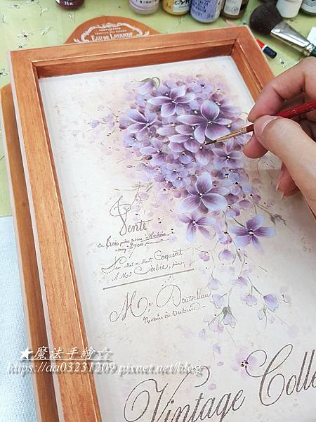 傢飾彩繪-鑰匙箱彩繪-紫羅蘭彩繪