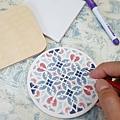 復古花磚杯墊-彩繪教學應用