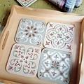 杯墊彩繪應用-復古花磚應用