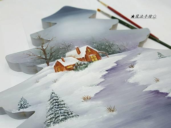 彩繪教學-聖誕樹風景畫