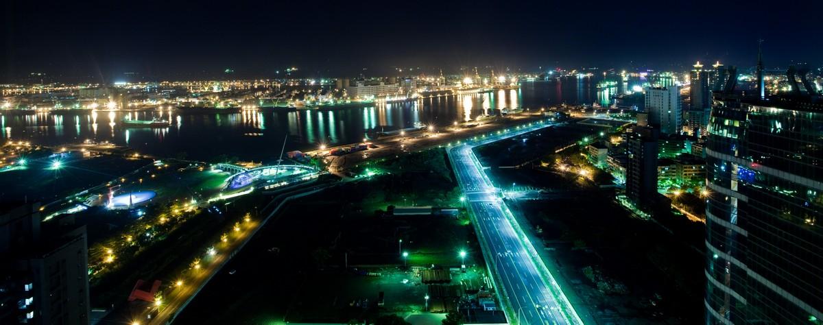 高雄夜景、高雄港、貨輪-01