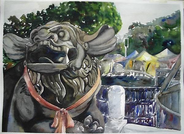 水彩-蓮池潭石獅