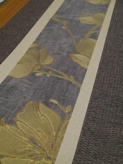 灰藍金花茶巾-2