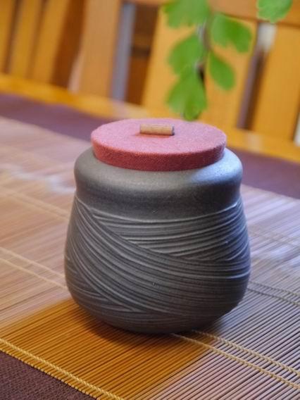 A27霧黑刷紋茶罐-5