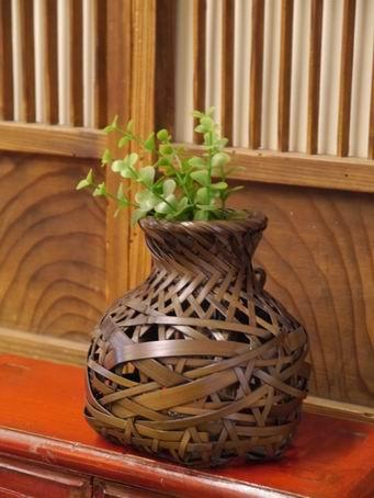 E86日本竹簍可掛花器-4