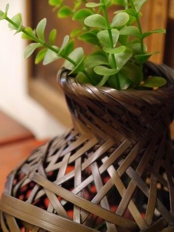 E86日本竹簍可掛花器-3