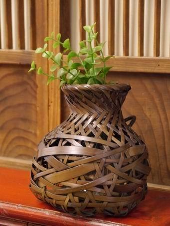 E86日本竹簍可掛花器-1