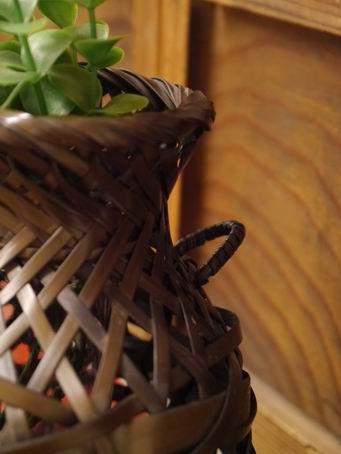 E86日本竹簍可掛花器-2