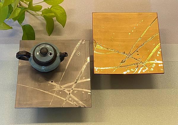 日本金銀釉創作立體陶盤-1。.jpg