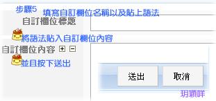 步驟5:填寫自訂欄位名稱以及貼上語法