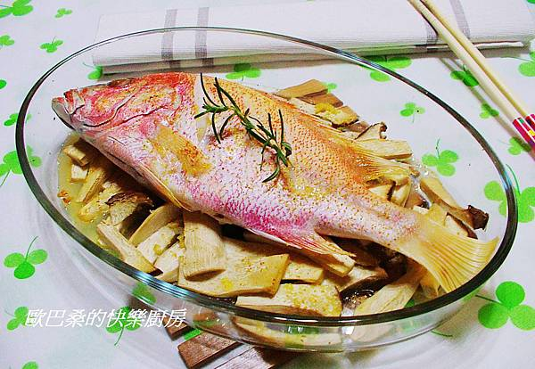 奶油蒜香杏鮑菇紅鯛魚