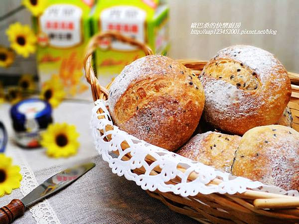 營養美味~【燕麥高纖芝麻麵包】