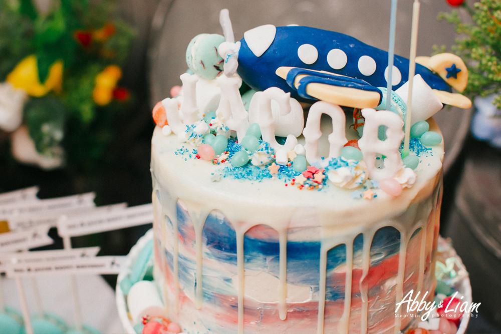 客製飛機粉藍男寶寶生日蛋糕