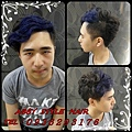 韓系捲髮+撞色染(寶石藍)