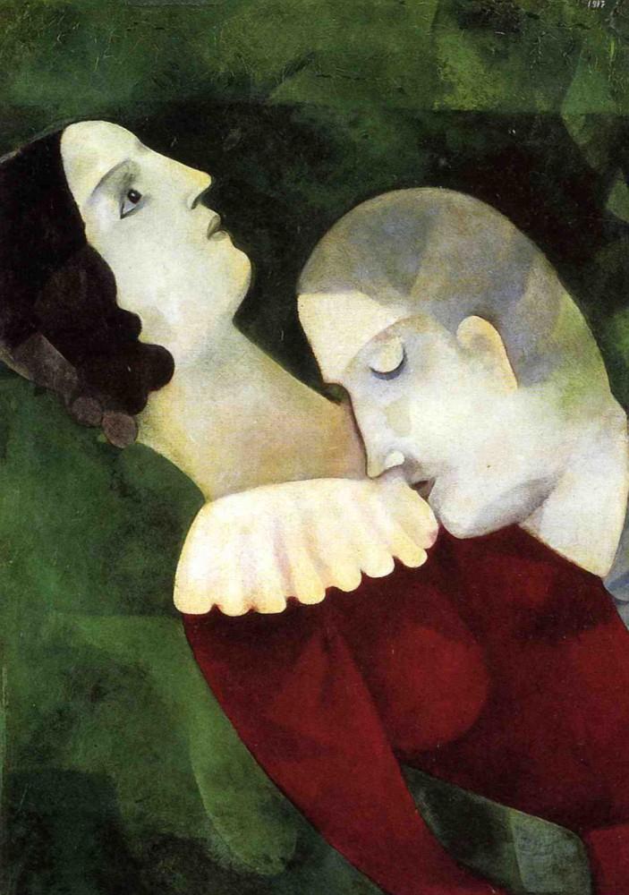 marc chagall les amoureux en vert