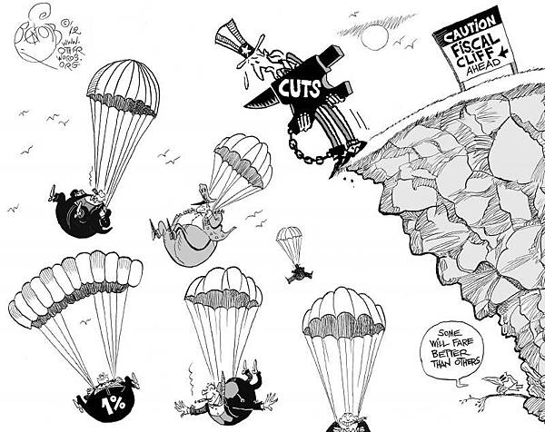 fiscal-cliff-cuts-cartoon-parachutes