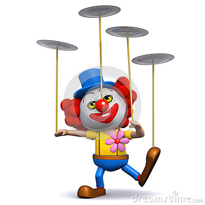 d-clown-spins-plates-render-spinning-many-40484254