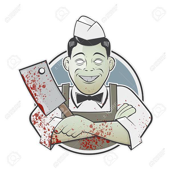 38910912-cartoon-butcher-with-bloody-cleaver-in-a-badge-Stock-Vector